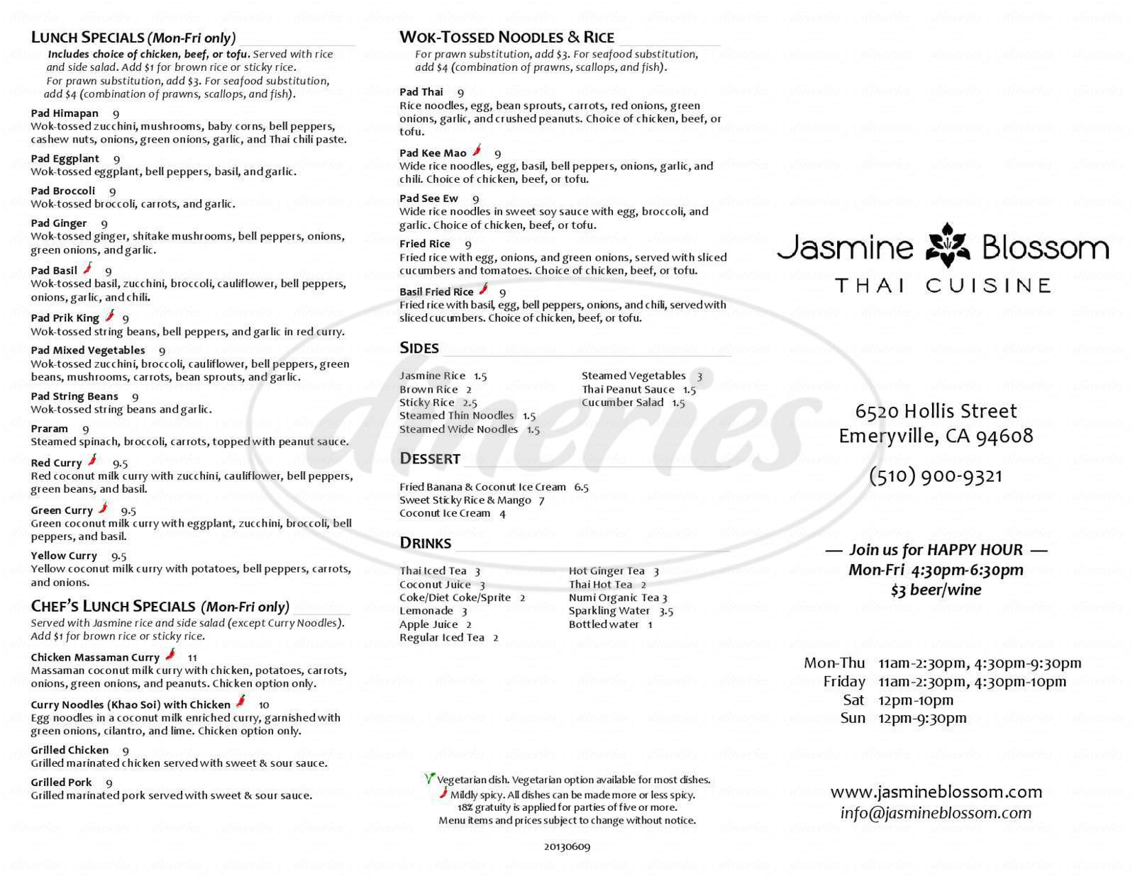 menu for Jasmine Blossom Thai Cuisine