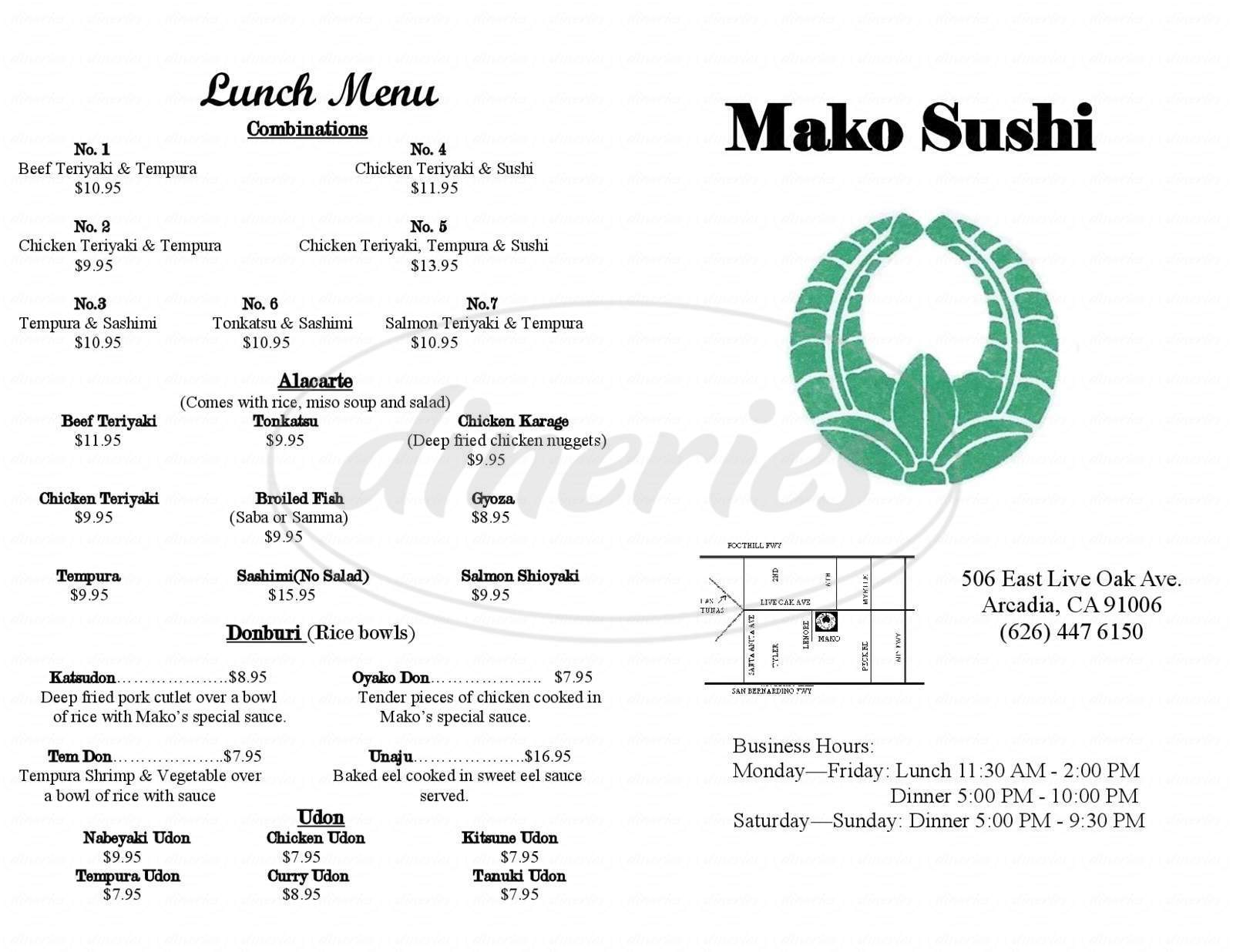 menu for Mako Sushi