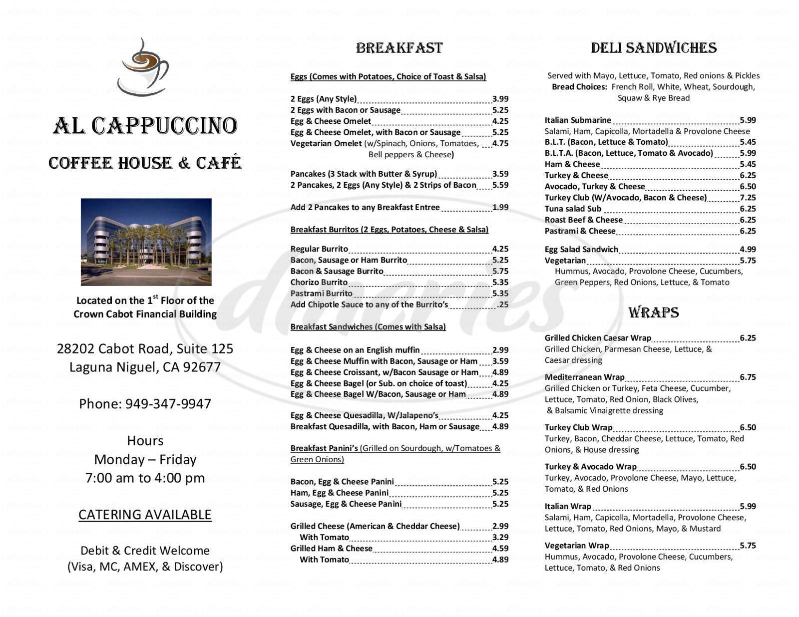 menu for Al-Cappuccino Coffee House