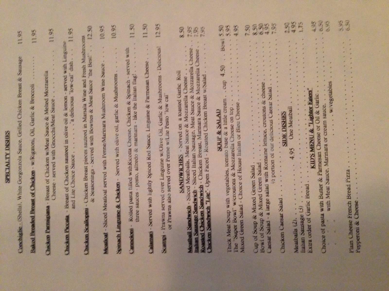 menu for Lotsa Pasta