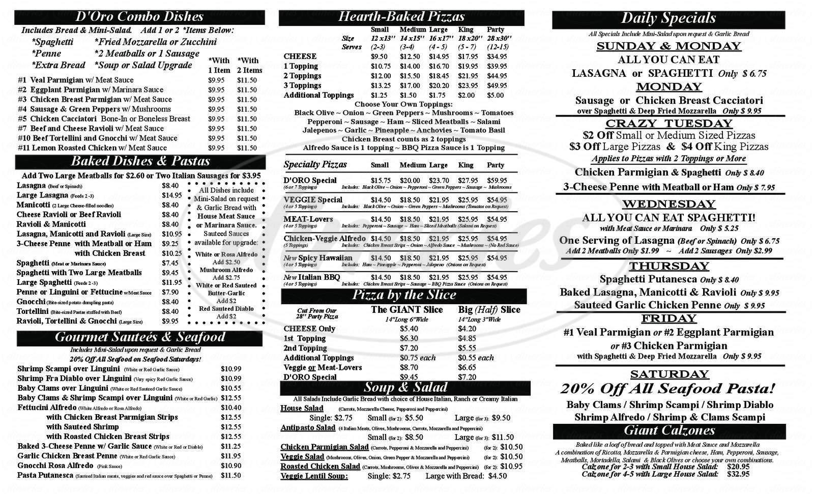 menu for Pizza D'oro