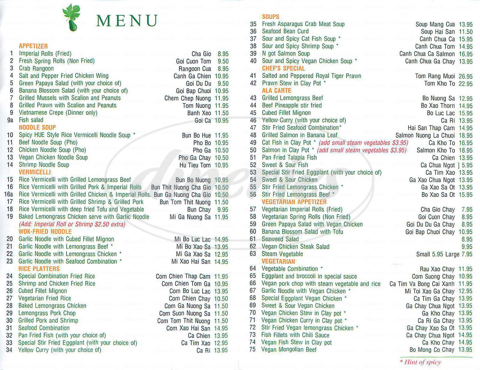 menu for Green Papaya