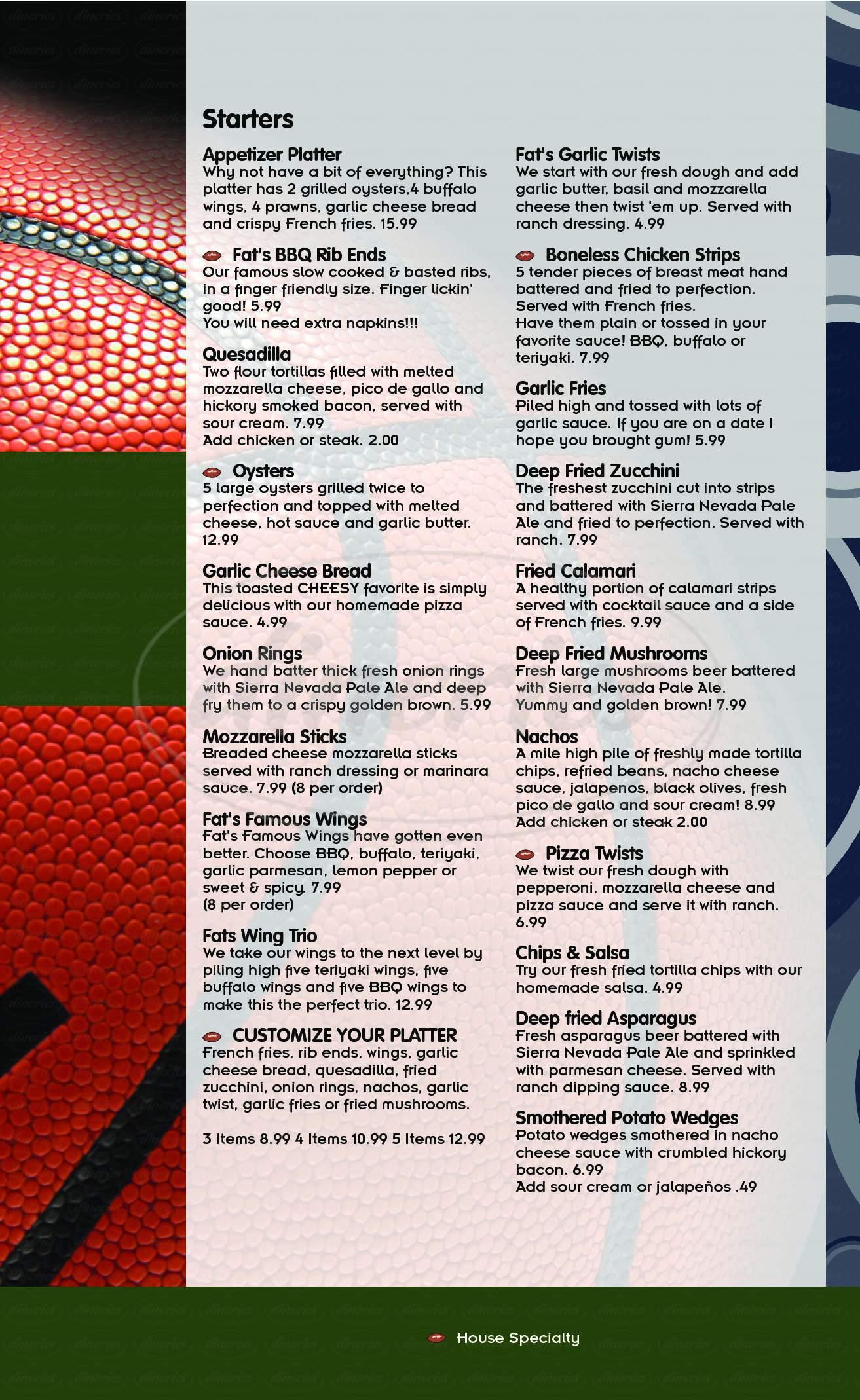 menu for Fats Grill & Bar