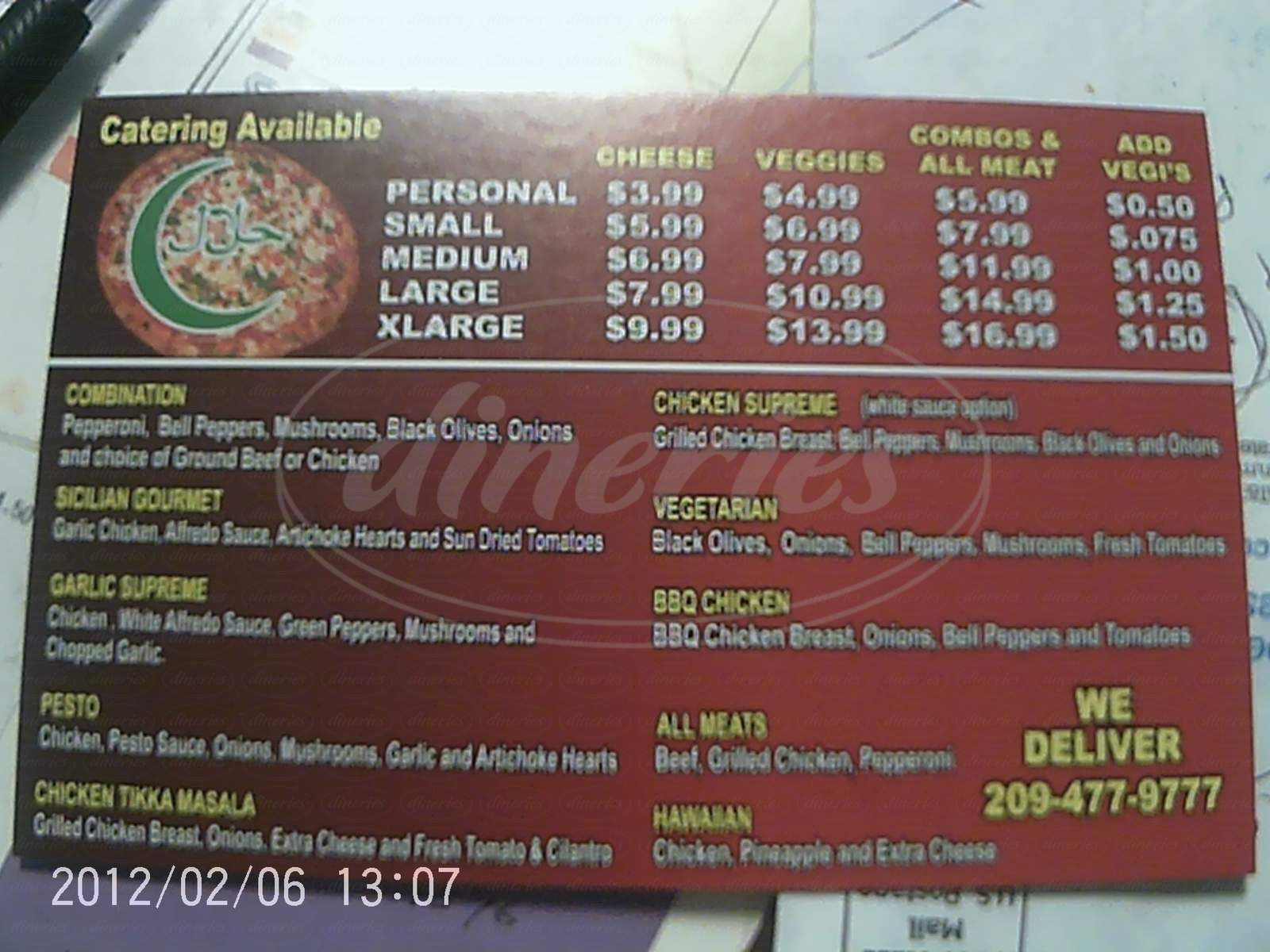 menu for Halal Pizza