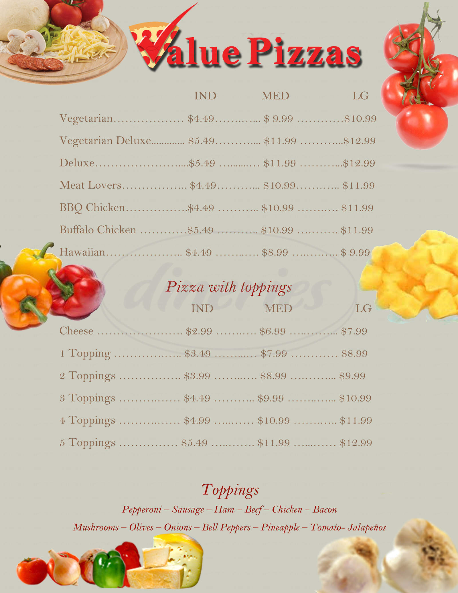 menu for Value Pizza