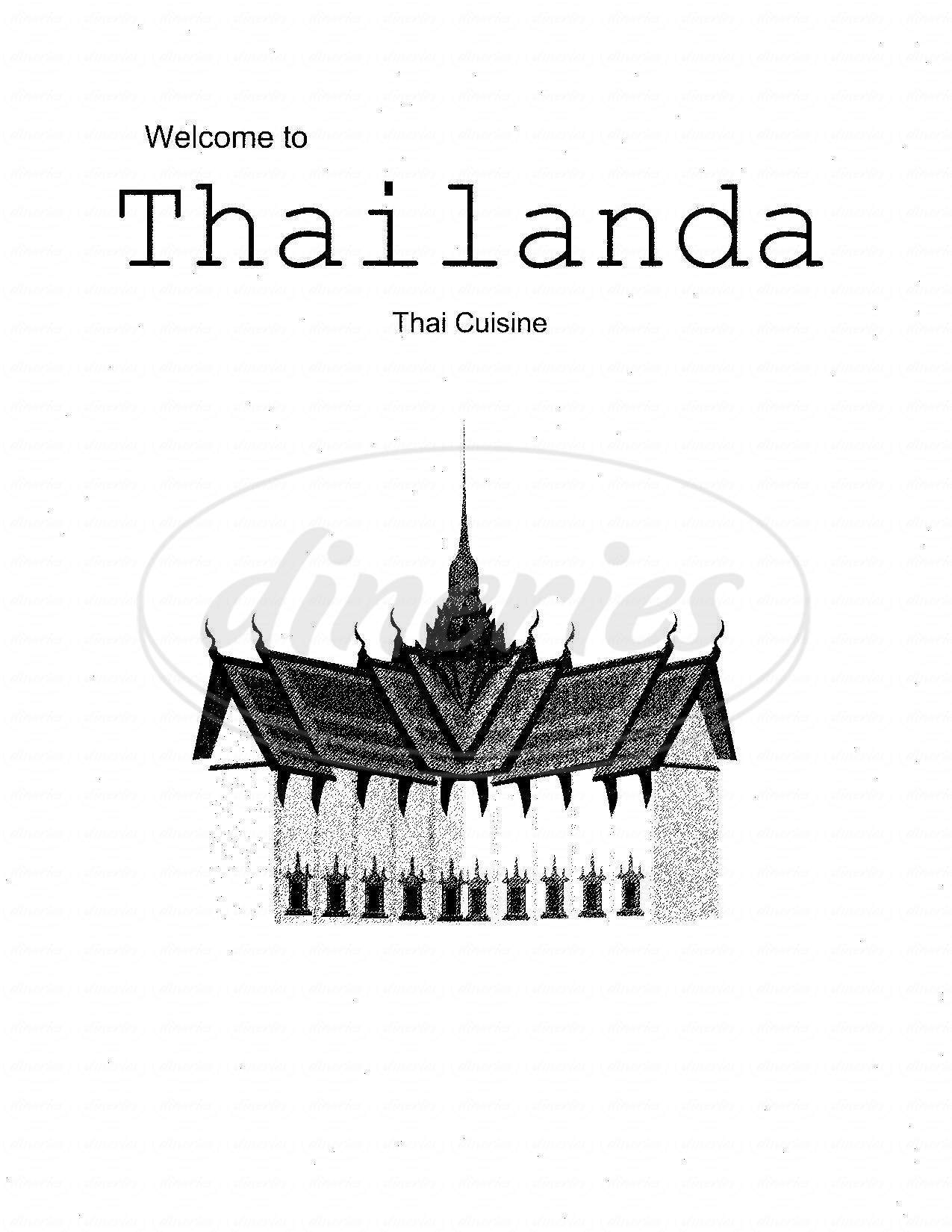 menu for Thailanda