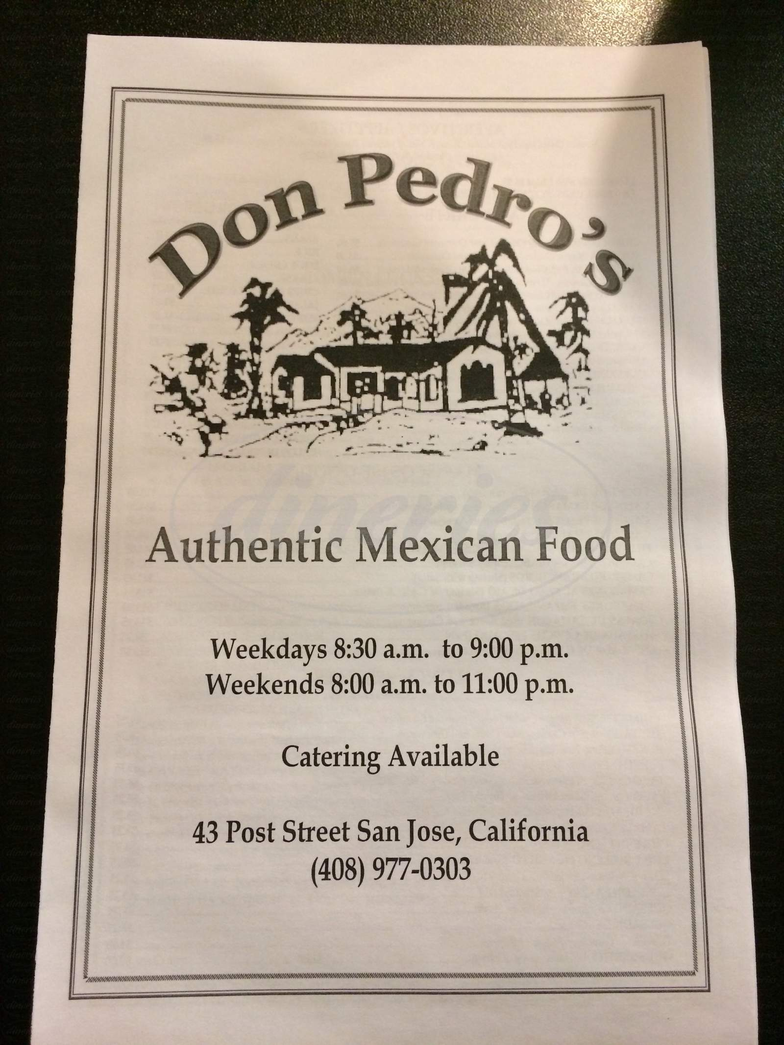 menu for Don Pedros Restaurant