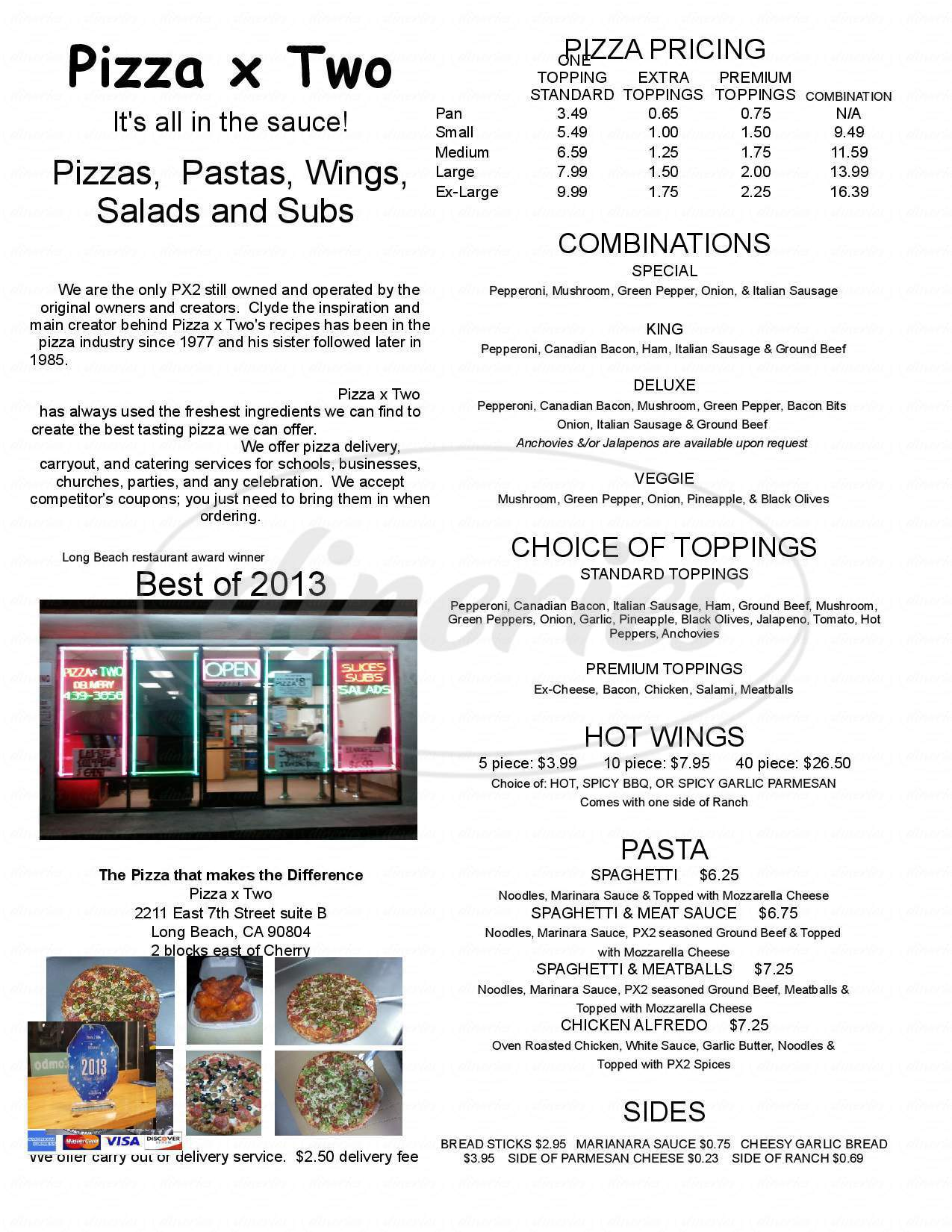 menu for Pizza X Two