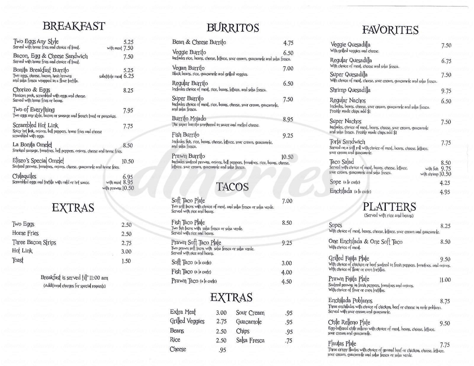 menu for La Bonita Taqueria