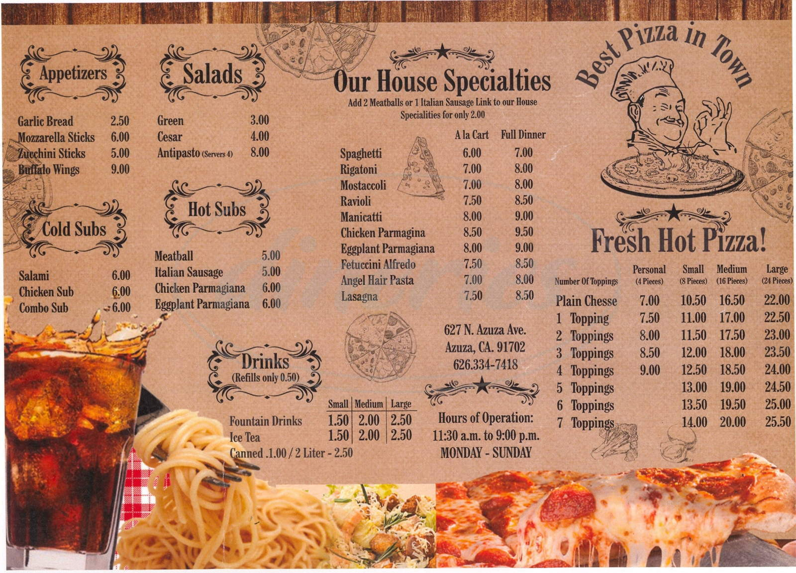 menu for Bambino's