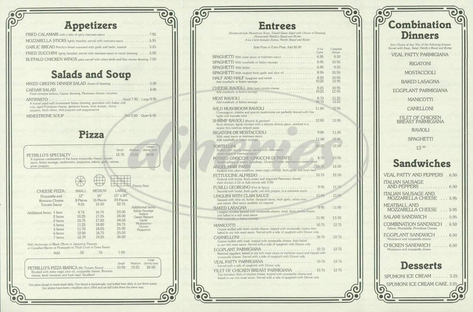 menu for The Original Petrillo's