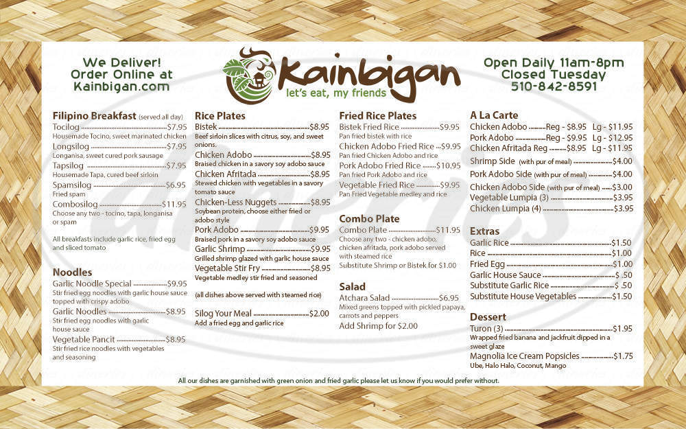 menu for Kainbigan