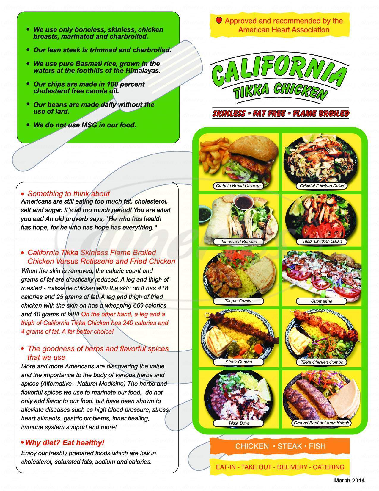 menu for California Tikka Chicken