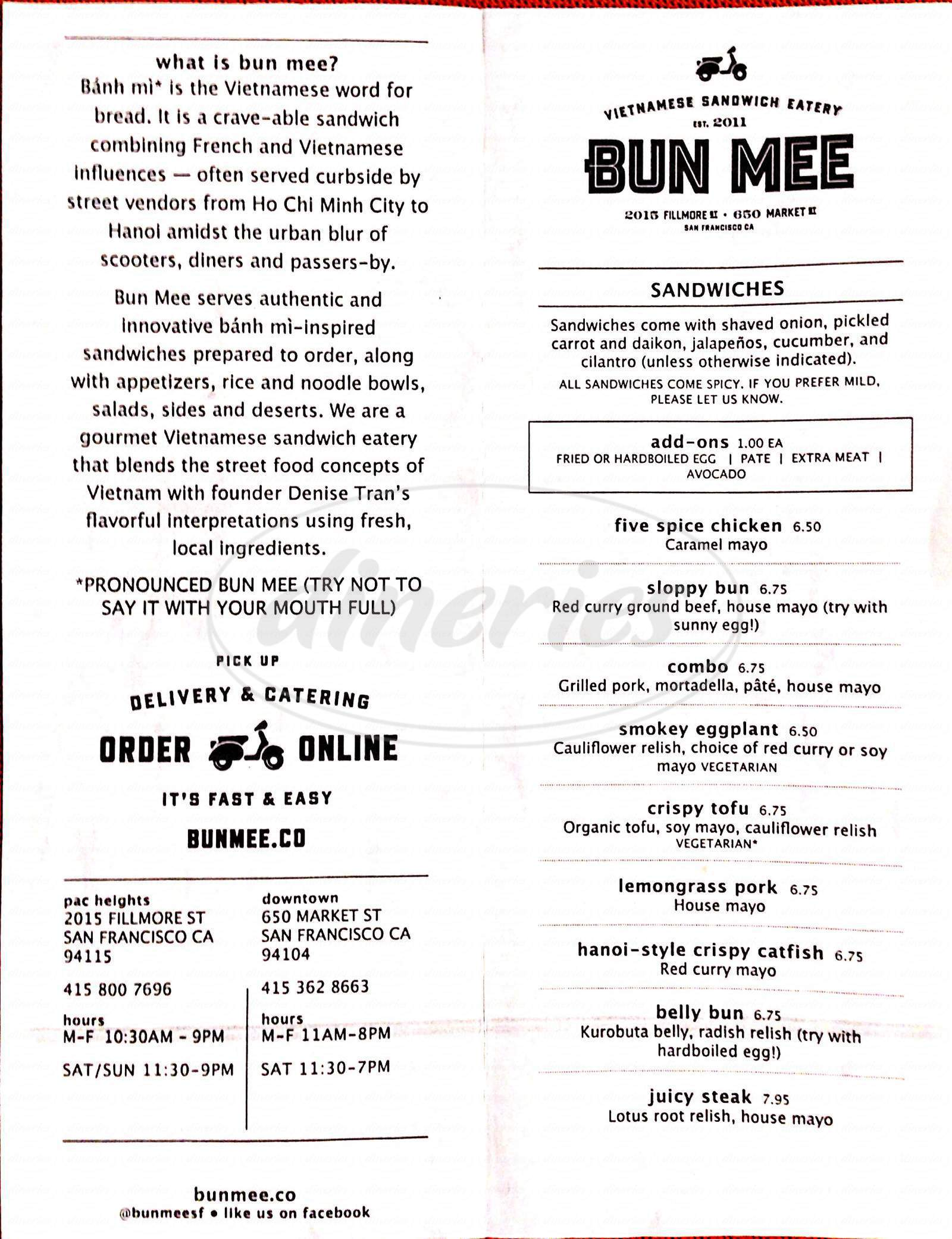 menu for Bun Mee