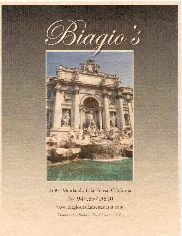 menu for Biagios Italian Restaurant