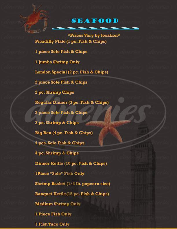 menu for H. Salt Fish & Chips