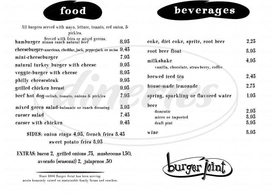 menu for Burger Joint