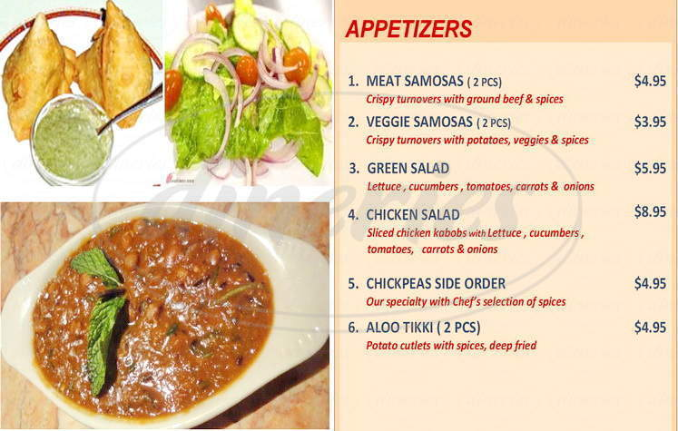 menu for Alladin Kabob