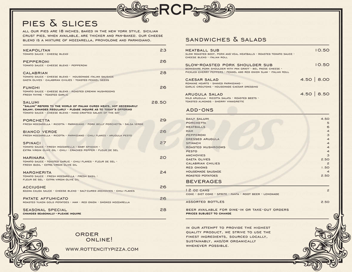 menu for Rotten City Pizza