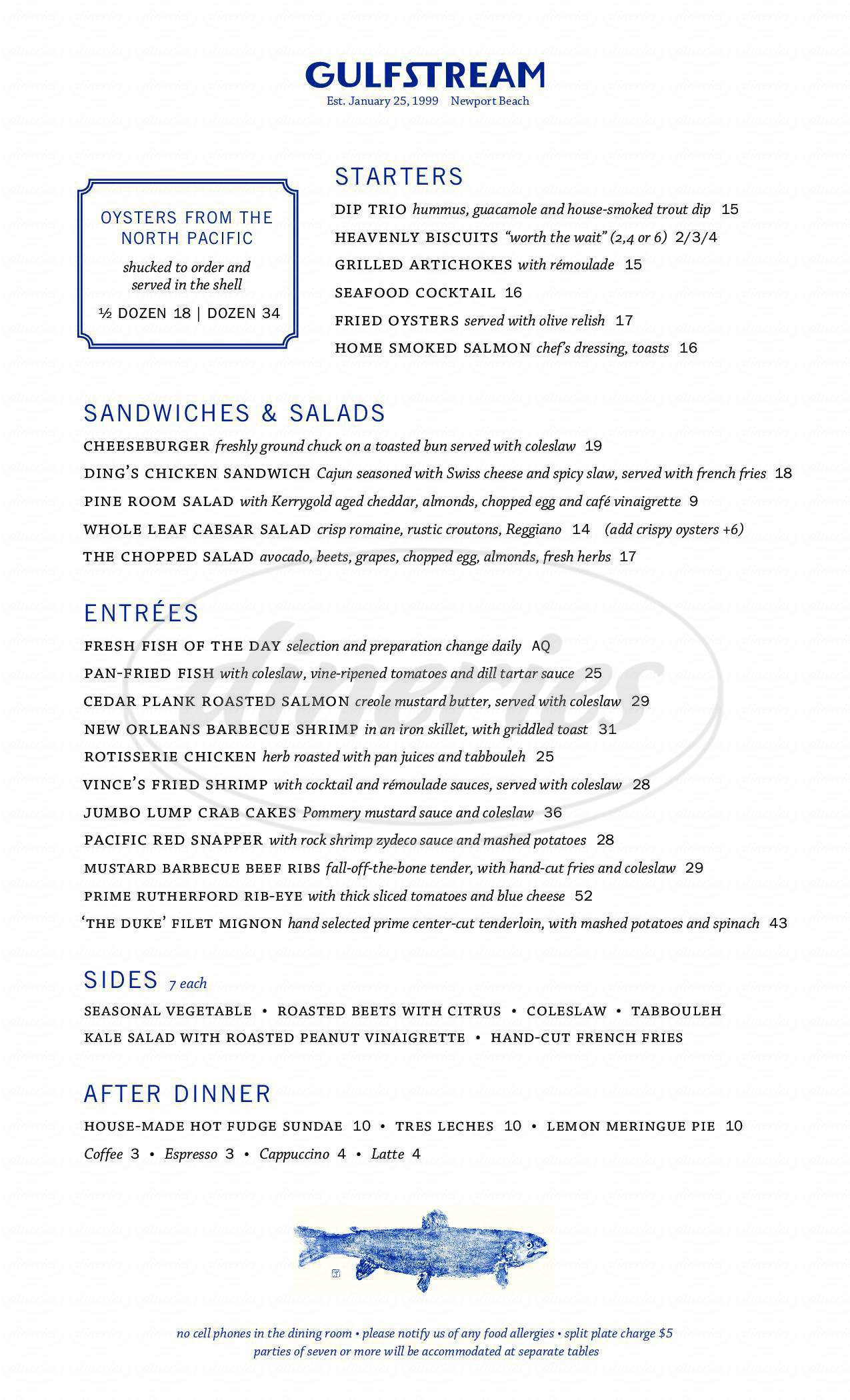 Gulfstream Big Menu Newport Beach Dineries