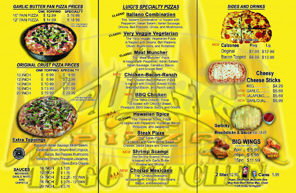 menu for Luigis Pizza
