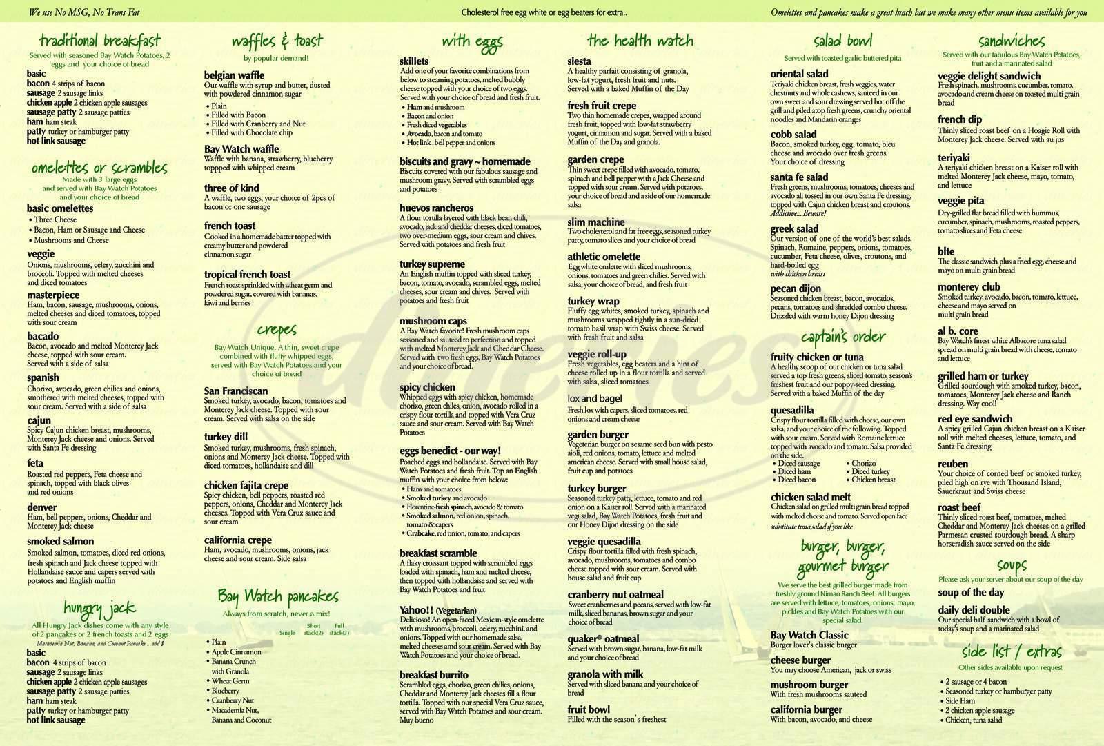 menu for Bay Watch