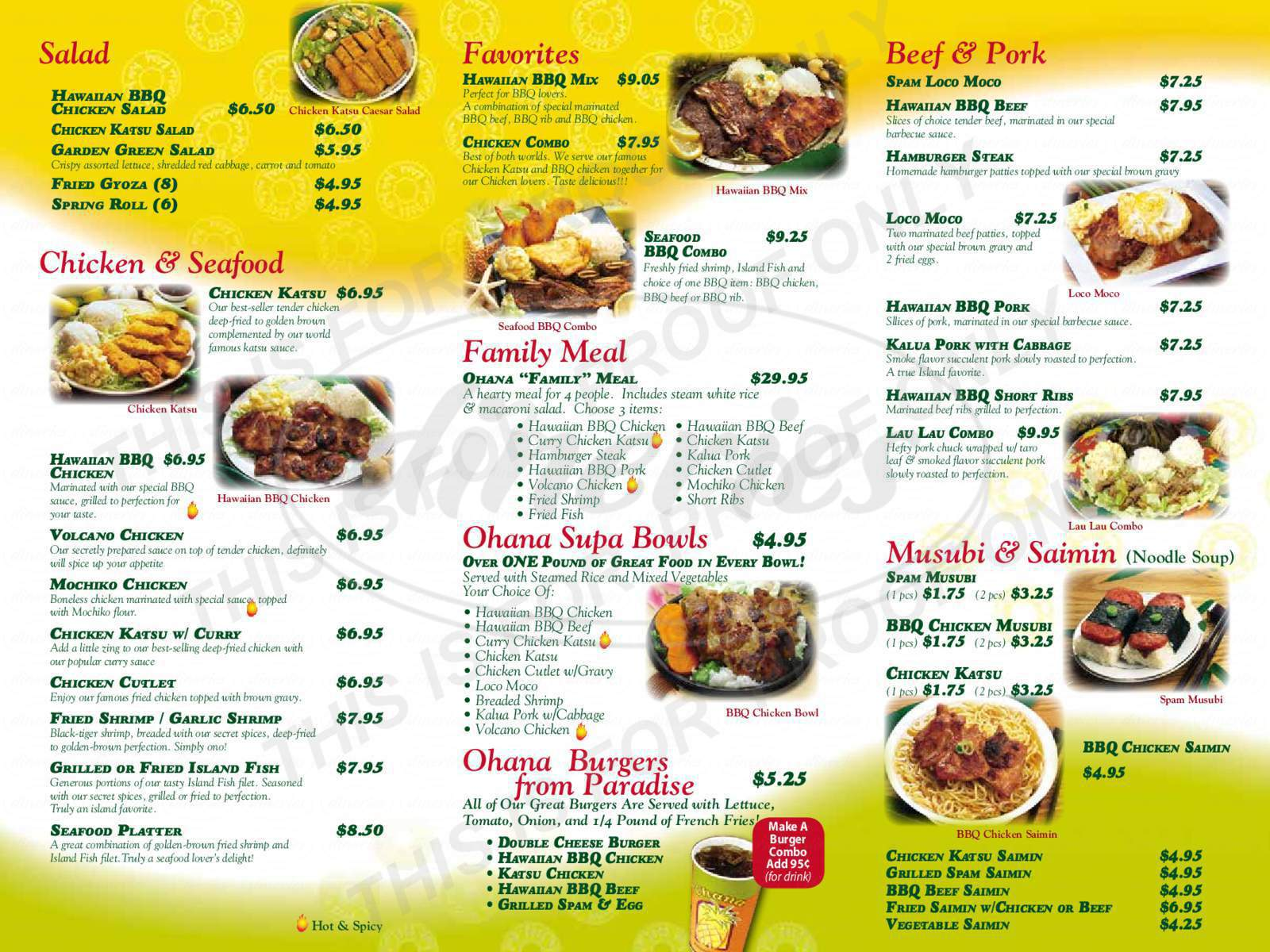 menu for Ohana Hawaiian BBQ of Pleasanton