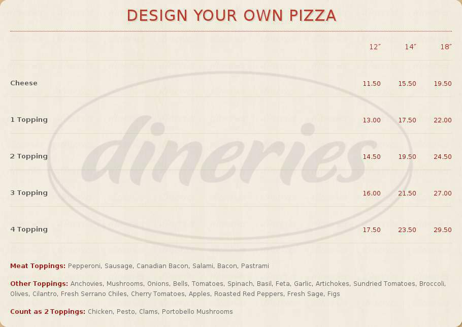 menu for Pizza My Heart