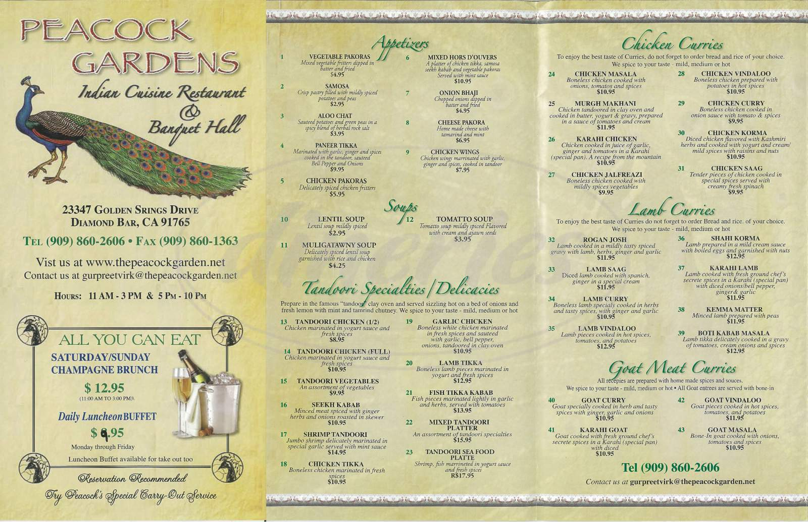 menu for Peacock Gardens Cuisine Of India & Banquet Hall
