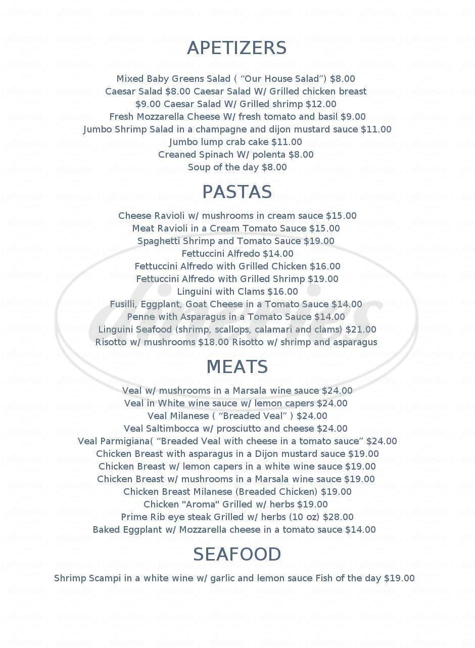 menu for Aroma
