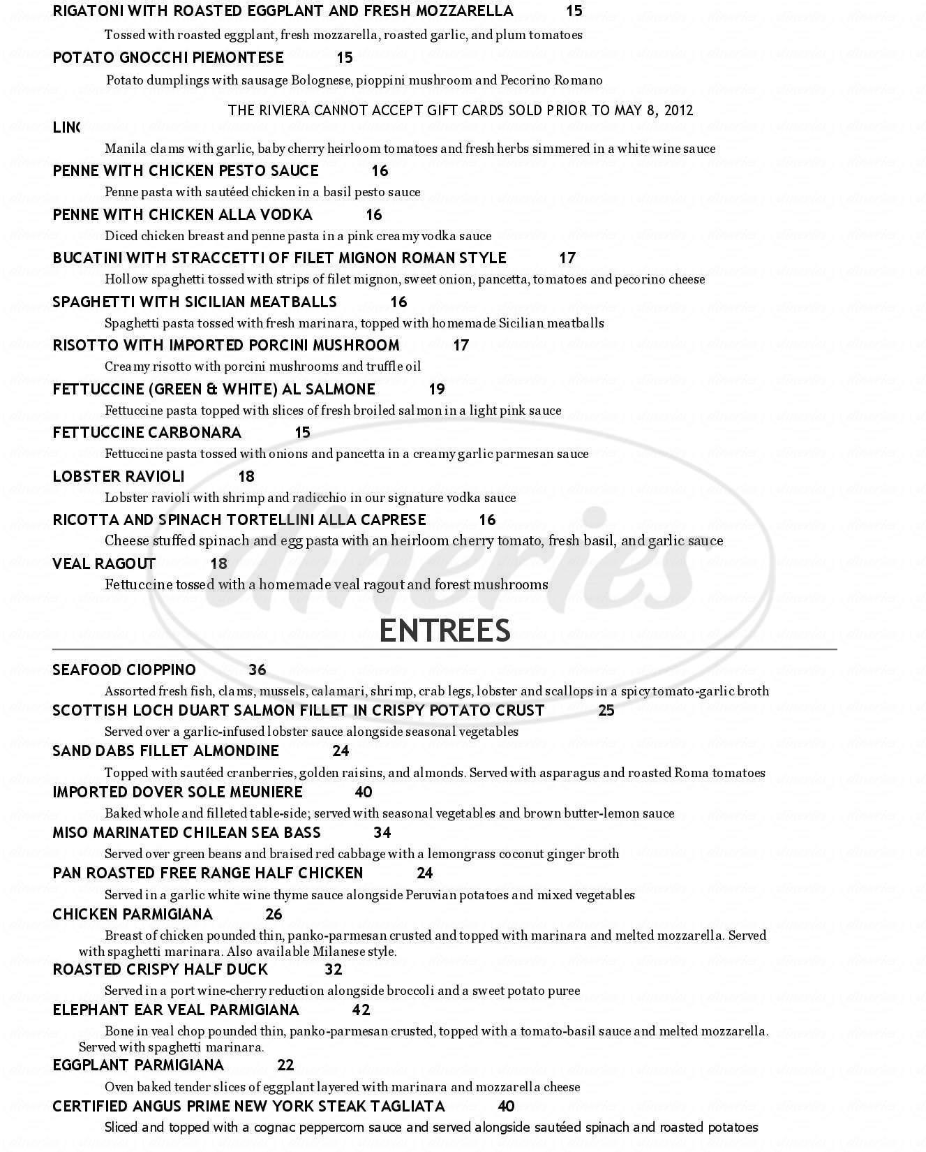 menu for Riviera Restaurant & Lounge