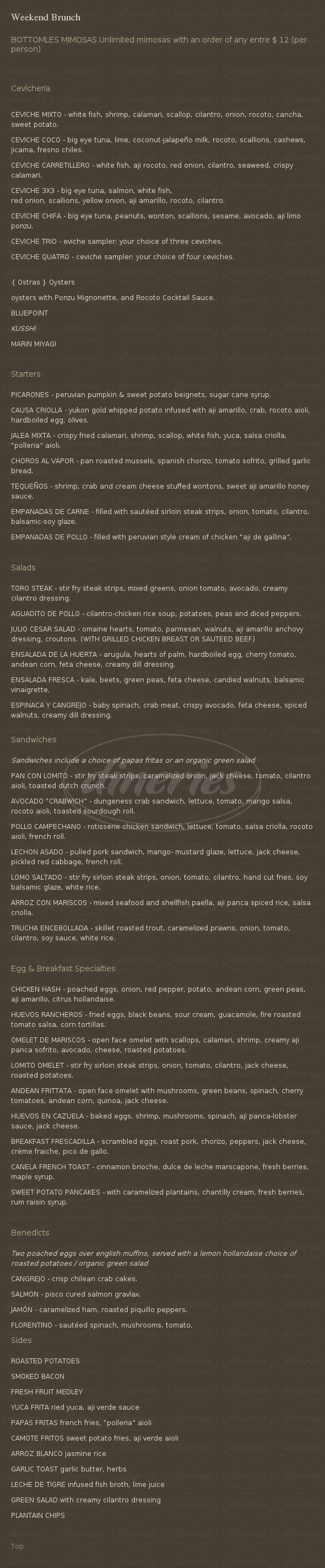 menu for Fresca