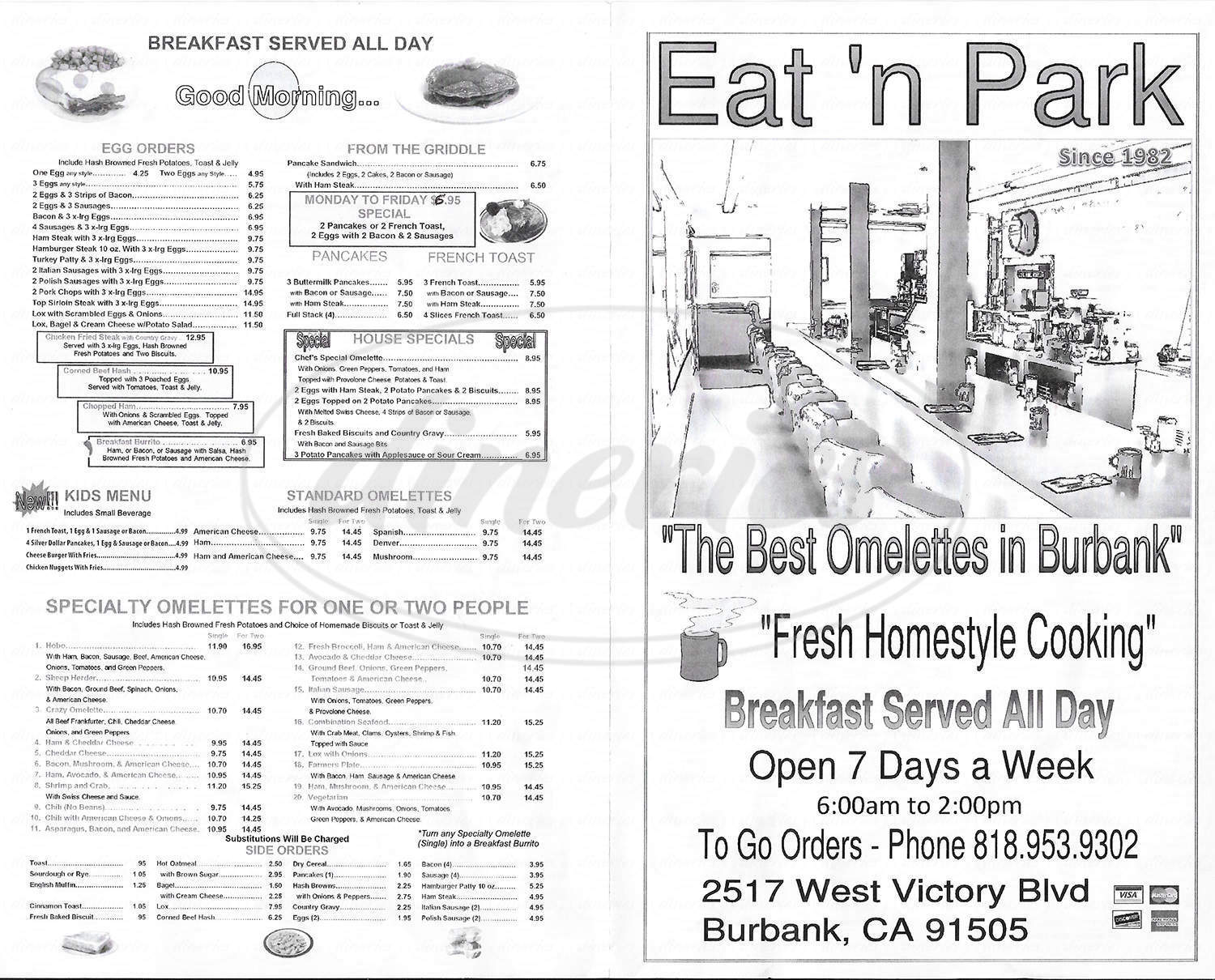 menu for Eat & Park Restaurant