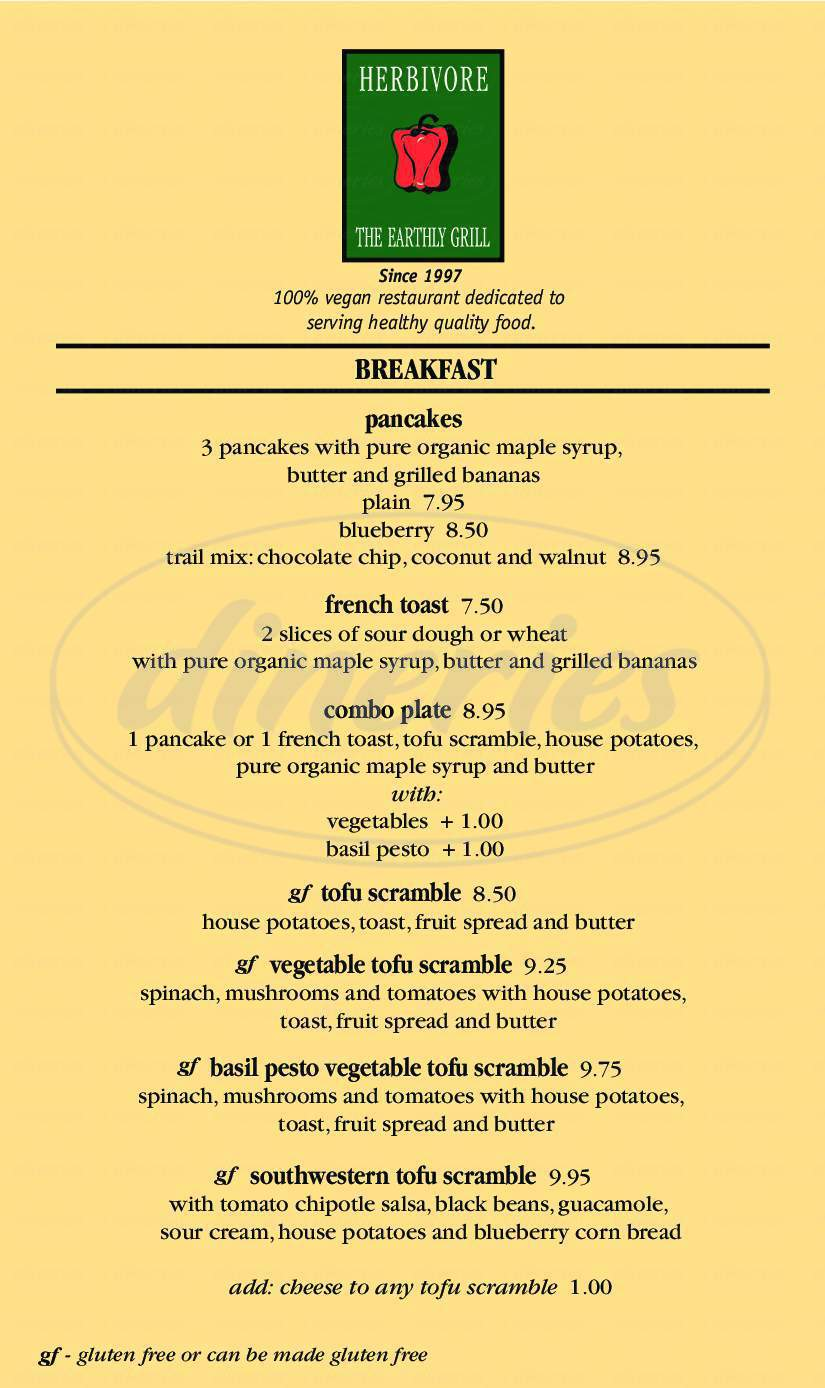 menu for Herbivore The Earthly Grill