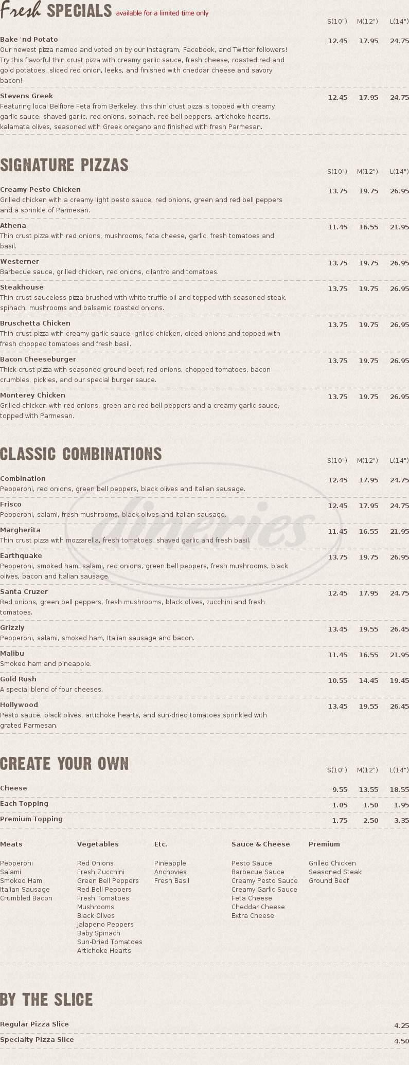 menu for Pizza California