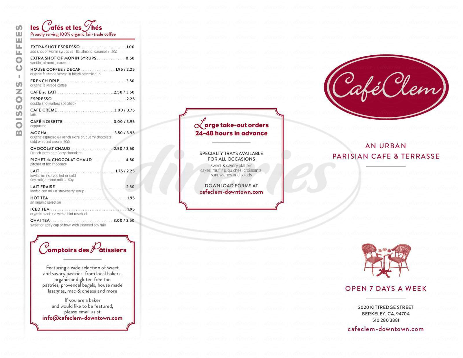 menu for Café Clem