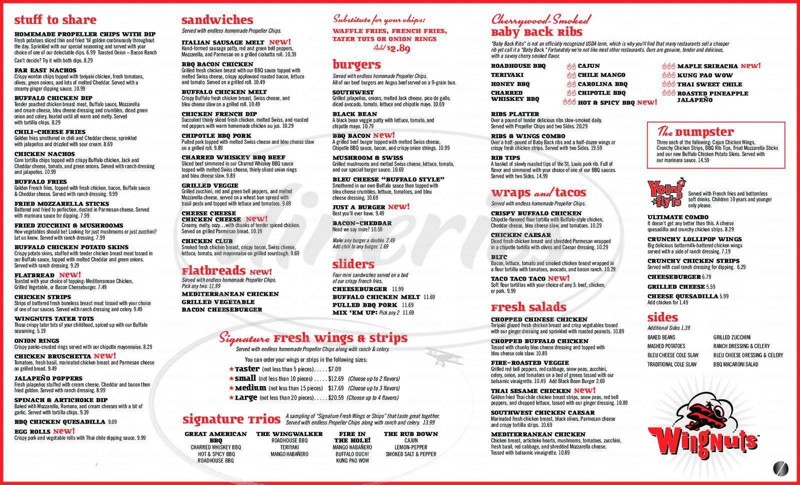 menu for Wingnuts