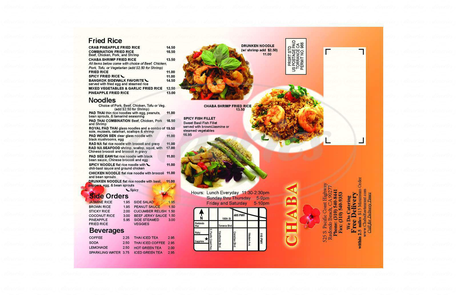 menu for Chaba Restaurant