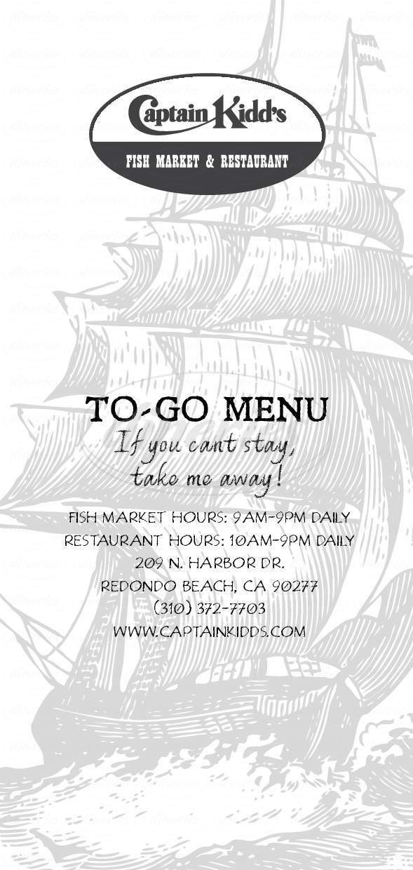 menu for Captain Kidd's