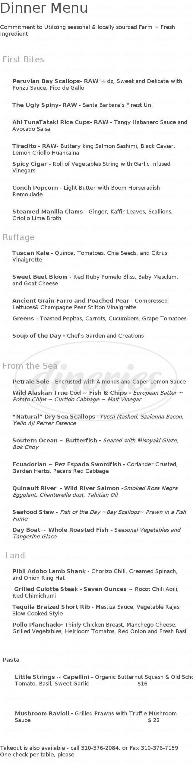 menu for Chef Melba's Bistro