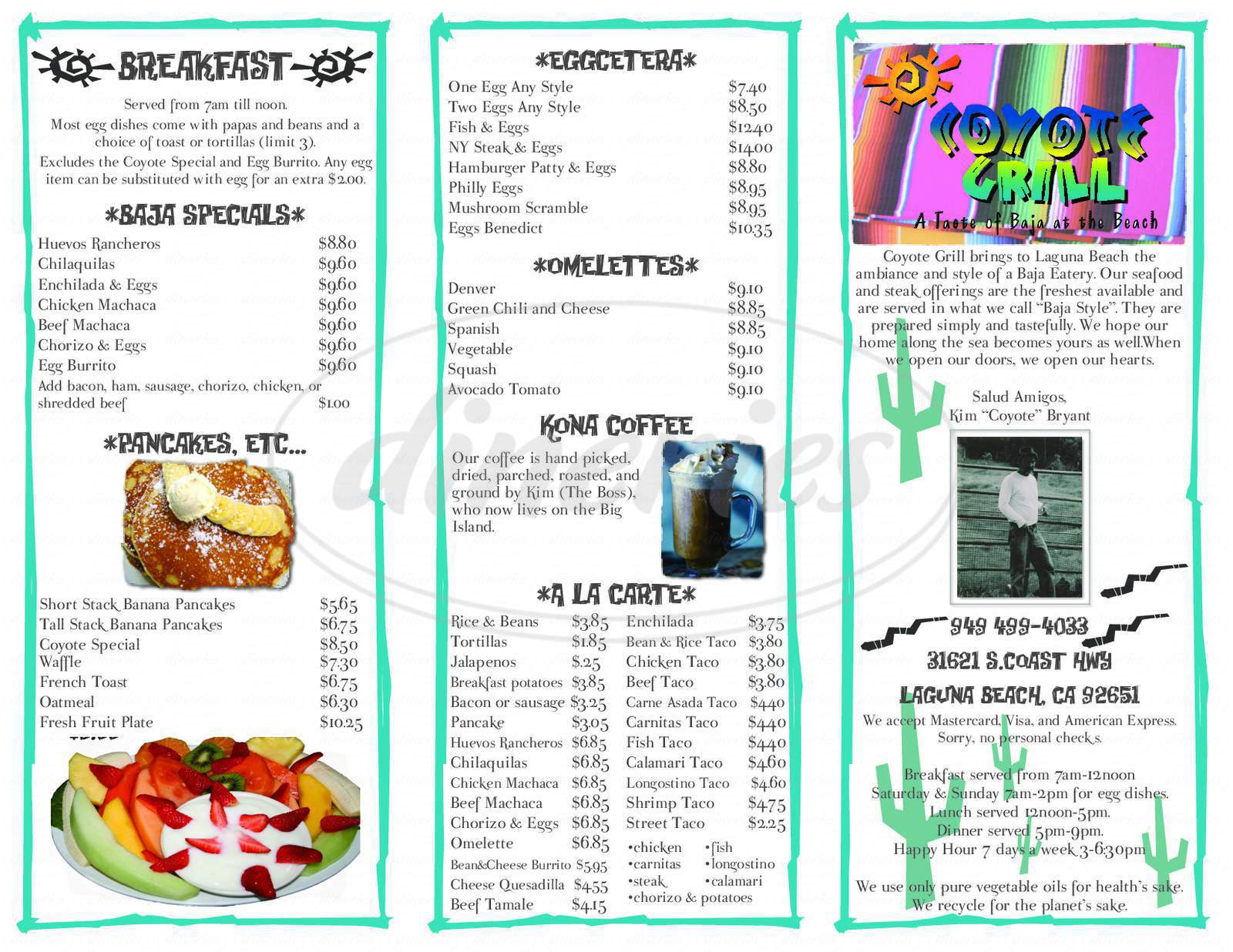 menu for Coyote Grill