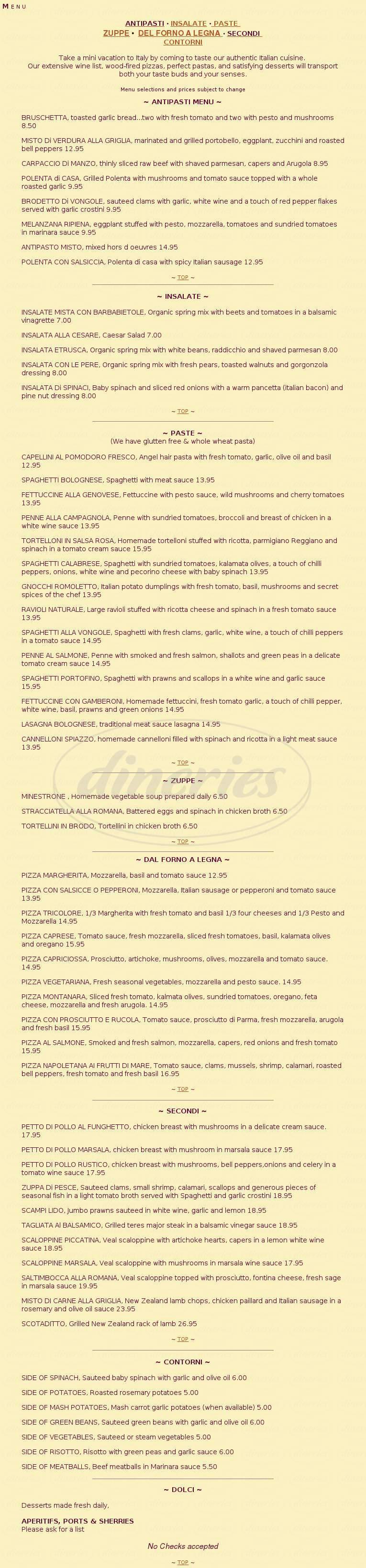 menu for Spiazzo Ristorante