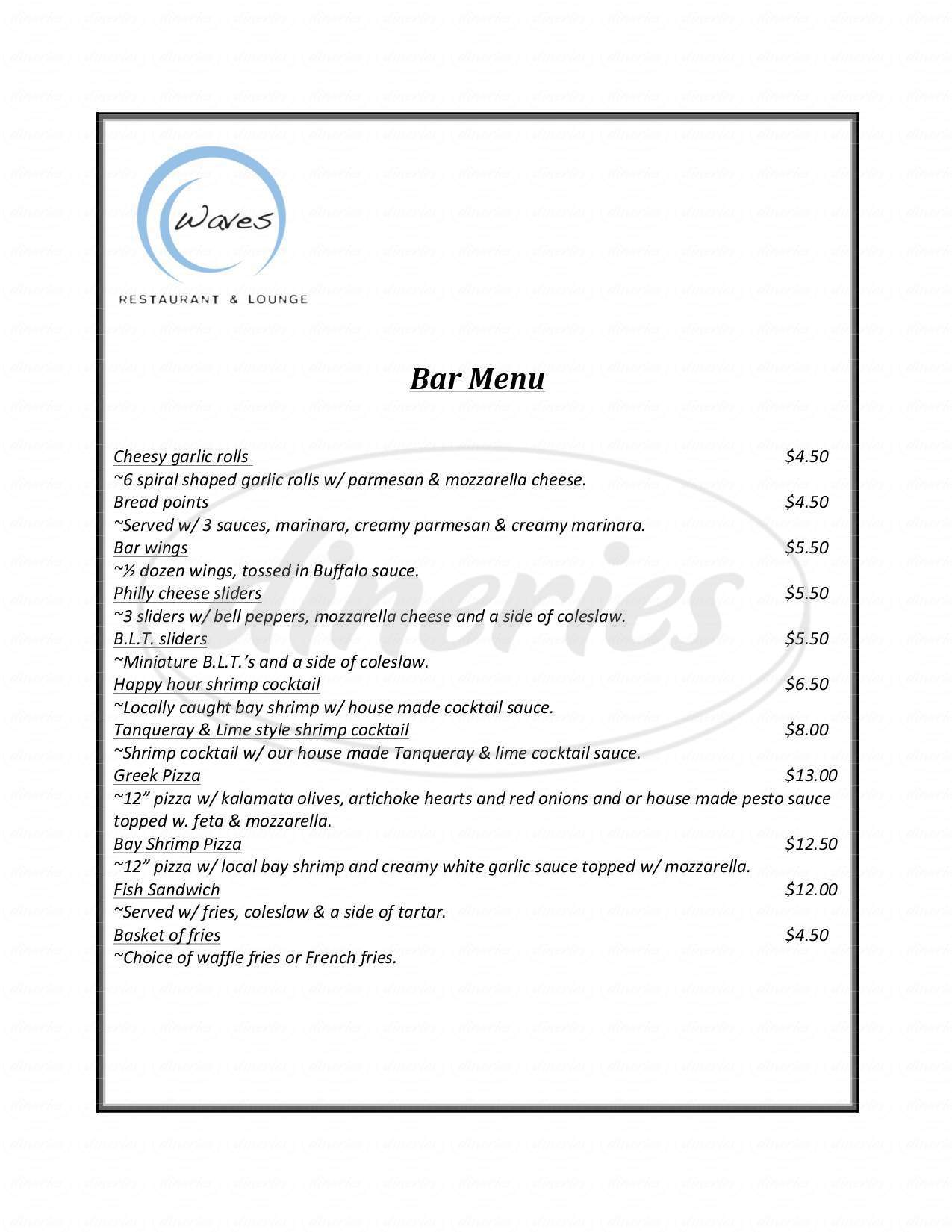 menu for Waves Restaurant and Lounge