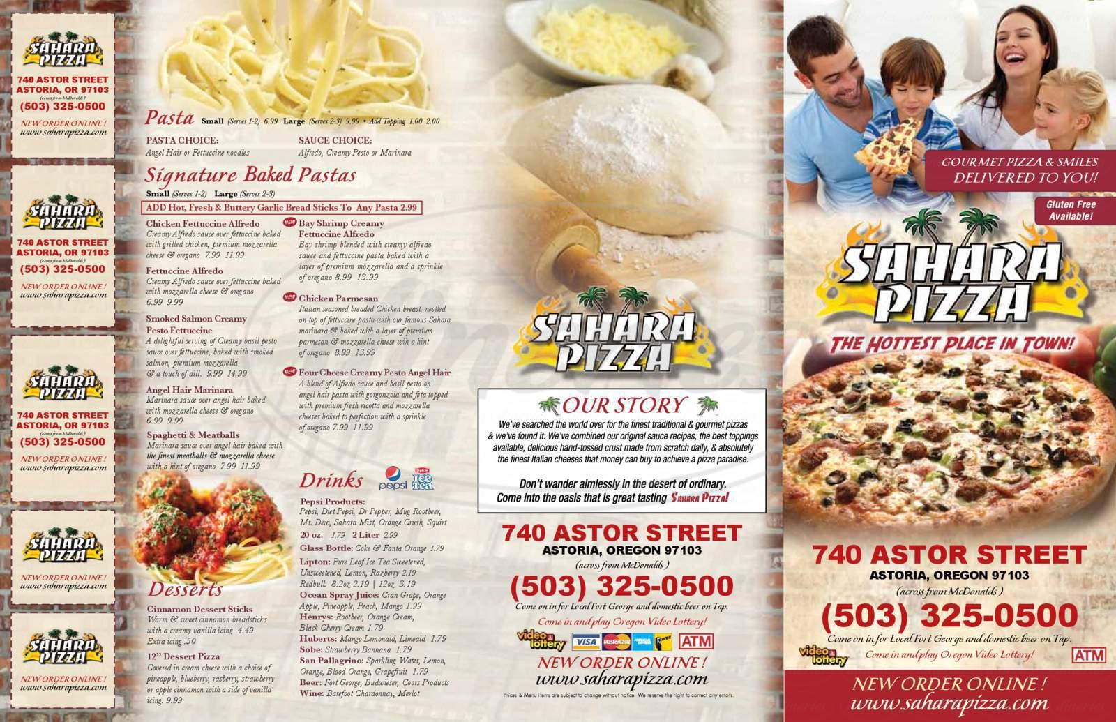 Big menu for Sahara Pizza, Astoria