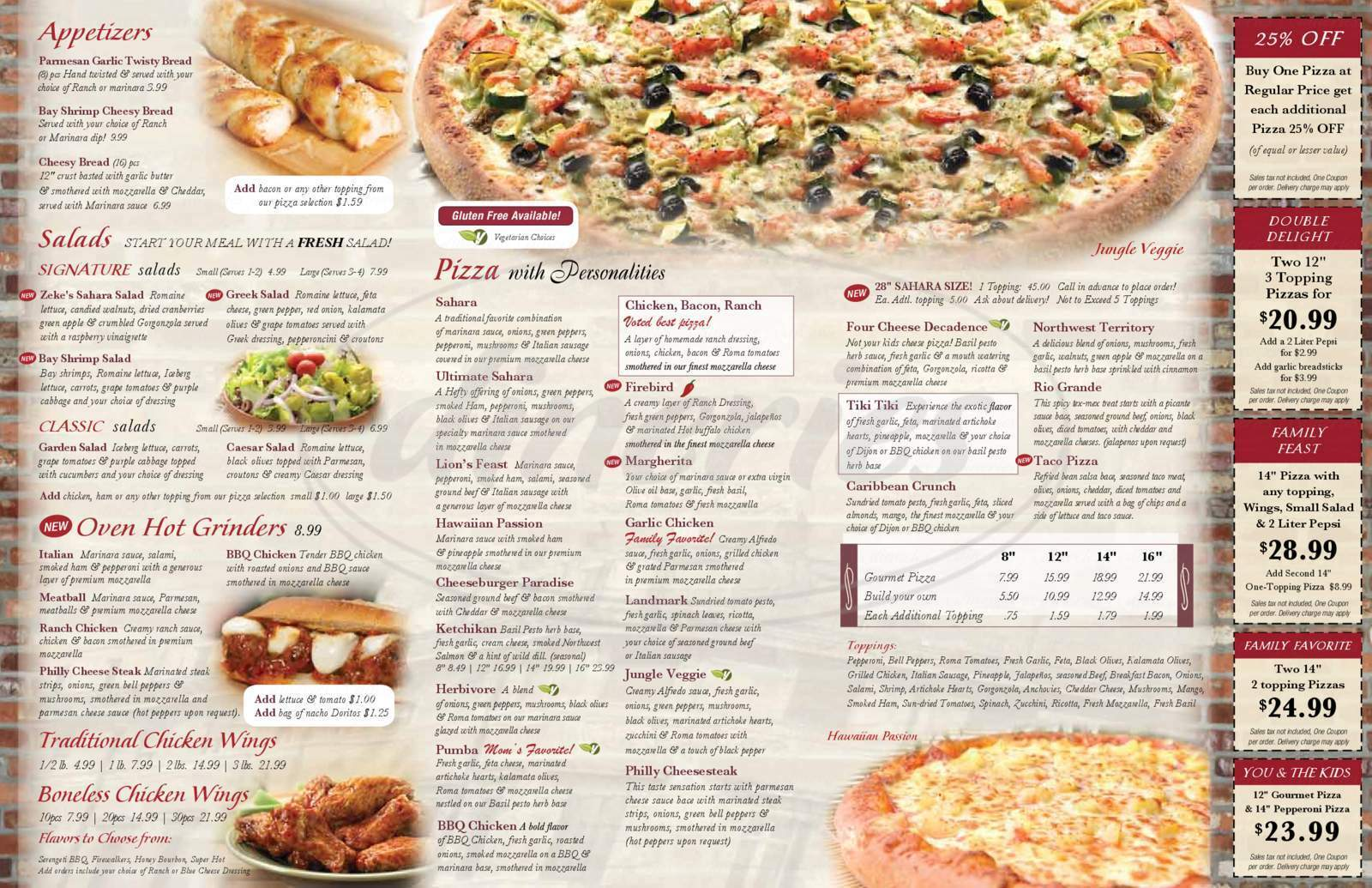 menu for Sahara Pizza