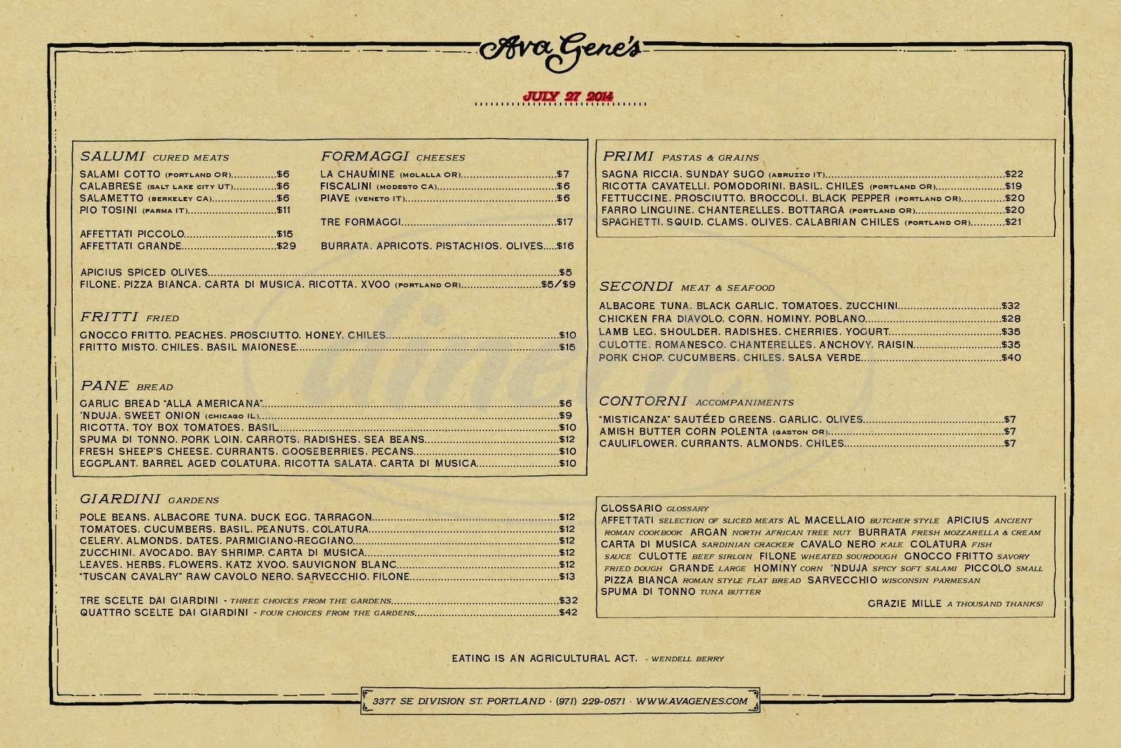 menu for Ava Gene's