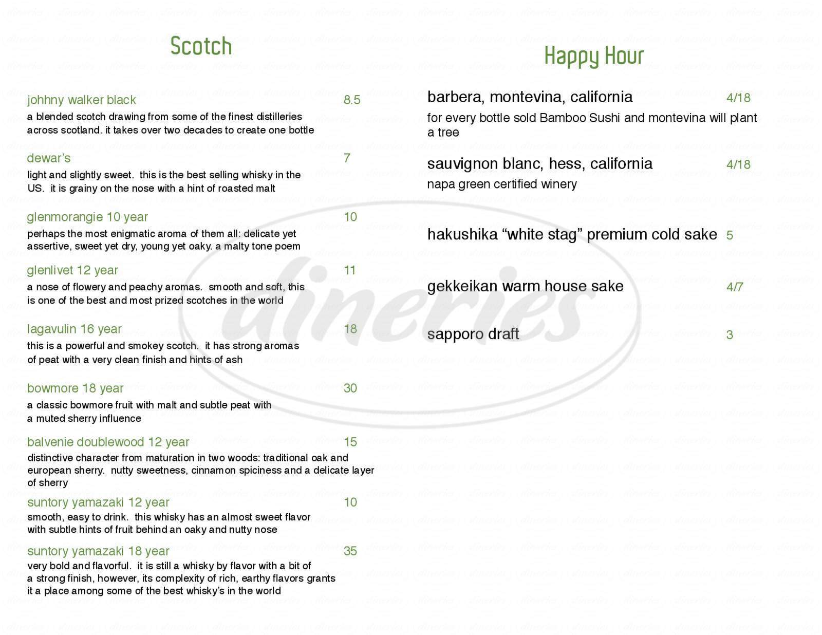 menu for Bamboo Sushi
