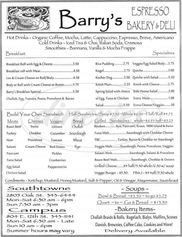 menu for Barry's Espresso & Bakery