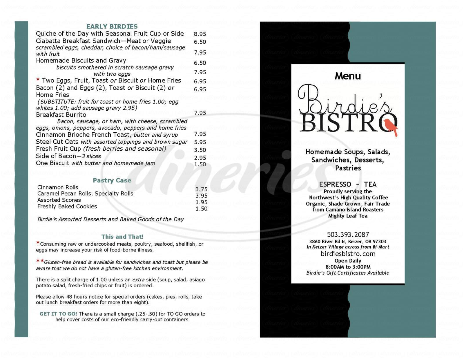 menu for Birdie's Bistro