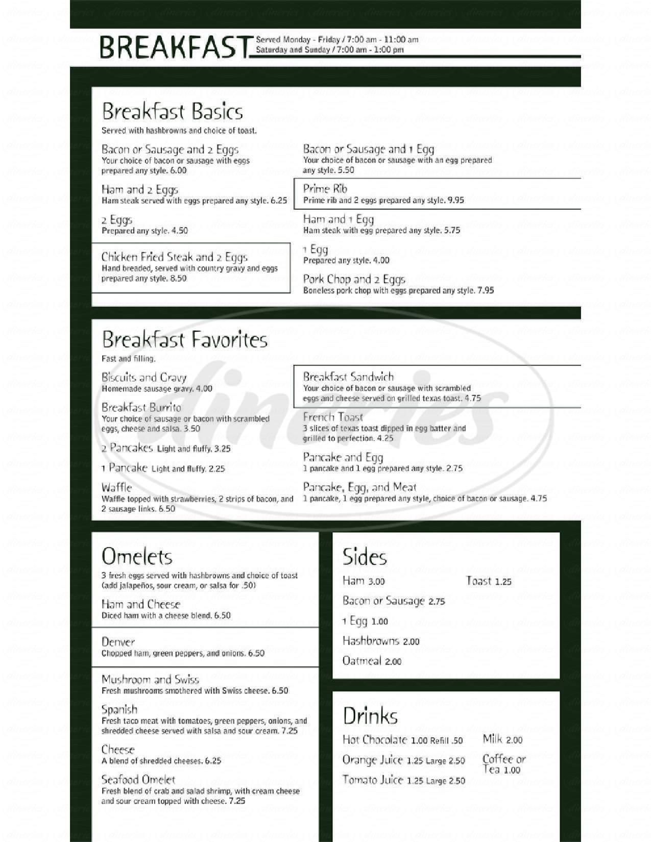 menu for Bob's Steak N'spirits